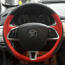 For Jaguar XF 2015 Black with Red Leather Hand-stitched Car Steering Wheel Cover