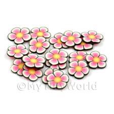 2x 50 rebanadas de caña de flores de color rosa y amarillo-Arte en Uñas (dns86)