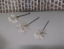 3 PEARL & CRYSTAL HAIRPINS, IVORY COLOUR, DESIGNER HANDCRAFT, NEW, Australian