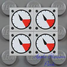 NEW Lot/4 Lego 1x1 Gray FLAT TILE - Race Car Truck Engine Gauge Dial Speedometer