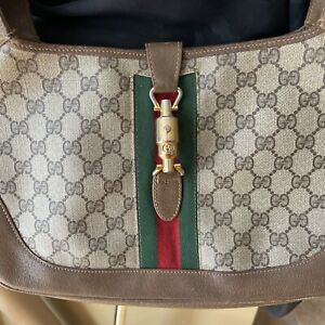 Vintage GUCCI JACKIE O GG MONOGRAM CANVAS BAG PURSE For Parts  Repairs Only 1244