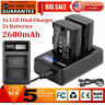 2x LP-E6 Battery + LCD Dual Charger for Canon EOS 5D 5DS Mark III II 6D 70D 60D