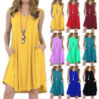 Women V Neck Sleeveless Loose Baggy Summer Holiday Beach Casual Pockets Dress