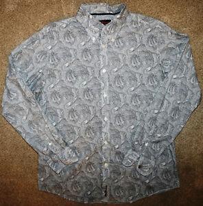 BEN SHERMAN Black White Paisley Button Down Size X Large NEW XL