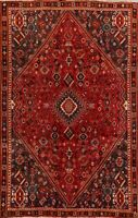 Vintage Tribal Abadeh Hand-Knotted Area Rug Nomad Geometric Oriental Carpet 6x10