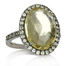 NEW TREASURES OF INDIA LEMON QUARTZ AND PERIDOT SILVER RING SIZE 7 HSN SOLD OUT