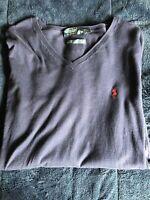 Polo Ralph Lauren Mens Sweater Navy Blue V Neck Light Weight Pima Cotton, Sz L
