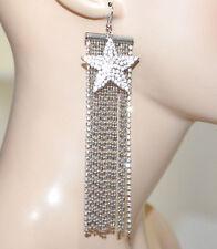 ORECCHINI fili pendenti lunghi grigio argento strass donna ciondolo stella G35