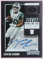 TRENTON CANNON RC 2018 CONTENDERS PLAYOFF TICKET AUTO #33/99 JETS AUTOGRAPH