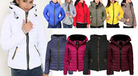 Womens Padded Quilted Puffer Jacket Bubble Zip Up Warm School Jacket Plus Size