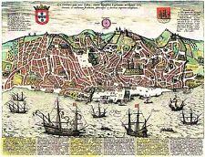 Mapa Antiguo Año 1598 hogenberg ciudad de Lisboa De Portugal De Impresión De Gran Cartel lf1727