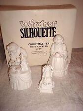 Departmentt 56 Winter Silhouette Christmas Tea Set Of 3 White Porcelain Set MIB