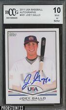 2011 USA Baseball #A51 Joey Gallo Rangers RC Rookie AUTO BCCG 10