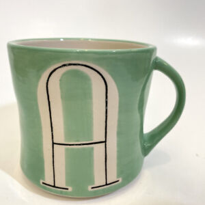 Anthropologie Letter Monogram Initial A Green Hand Painted Mug