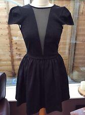 Topshop Black Brocade Dress With Mesh Insert - Size 8 - Skater Prom Wedding