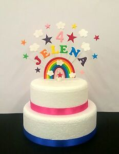 Rainbow birthday / christening cake topper, personalised name and age