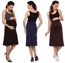 Zeta Ville - Women's Maternity knee length skater skirt stretch waistband - 983c