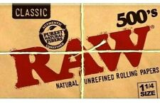 Raw 500's 1 1/4 Rolling Papers 500 Leaves Classic Natural Unrefined USA Shipped!