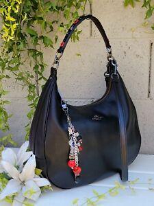 COACH HARLEY 59455 red applique floral leather hobo crossbody purse shoulder bag