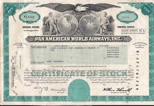 Stock certificate Pan American World Airways, Inc. w/ attached document 1978 #cd