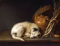 "Gerrit Dou Sleeping Dog, Terrier, antique wall decor, Art Print, 14""x11"""