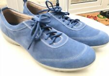 HOTTER DAKOTA Denim Blue SUEDE LACE UP TRAINERS SHOES SIZE UK9 EU43 Leather New