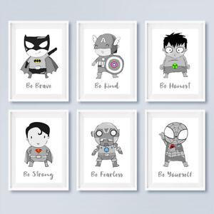 Grey Superhero Nursery Prints Childrens Boys Bedroom Wall Art Pictures Decor