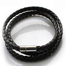 New Fashion Womens Mens Black Leather Interlaced Cuff Bangle Wristband Bracelets