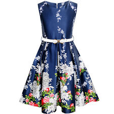 Sunny Fashion Girls Dress Navy Blue Flower Belt Vintage Party Sundress Size 6-14