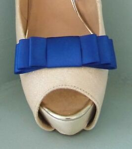 2 Handmade Royal Blue Triple Bow Clips for Shoes - other colours on request