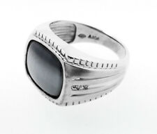 10K White Gold Mens Ring set with a Grey Cat's Eye center stone and Diamonds