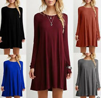 Fashion Women Long Sleeve Loose Casual Tops Blouse T Shirt Short Mini Dress 2018