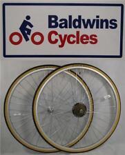 "27"" x 1 1/4 PAIR Bike Wheels + Premium Amber Wall Tyre's & 6 Speed Freewheel"