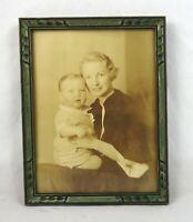"""Antique Art Nouveau Ornate Green Gesso Photo Picture Frame Fits 8"""" x 6"""""""