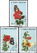 Sao Tome e príncipe 1062-1064 (edición completa) usado 1988 flores y Mariposas
