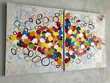 """SUPERB ORIGINAL ROB VAN HEERTUM """"Choices""""  DUO DIPTYCH ABSTRACT PAINTING"""