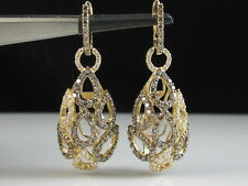 LeVian Diamond Earrings 1 3/4ctw 14K Yellow Gold Tear Drop Dangle Fine Jewelry