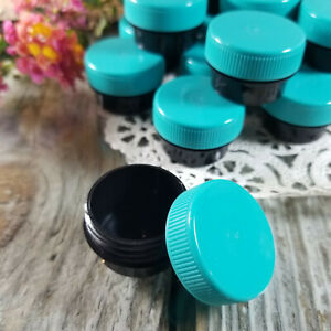 50 Black 1/4oz Plastic JARS 1 Tsp Screw on Teal Cap Container 3301 DecoJars