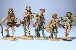 "Vintage Lot of 5 Simonetti Fontanini Italy Nativity Figurines 4-to 5"" Tall"