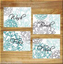 Teal Aqua Gray Wall Art Prints Bath Rules Quotes Bathroom Decor Floral Flowers
