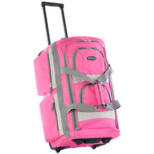 "TRAVEL Pink SPORTS DUFFLE BAG Rolling Travel Luggage Medium 22"" Size Light Weigh"