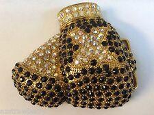 Gold tone metal rhinestones Boxing Gloves fancy belt buckle