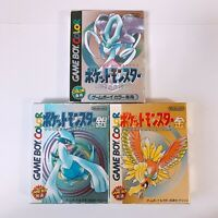 Pokemon Silver Gold Crystal set Pocket Monsters Game Boy Color GBC Japan