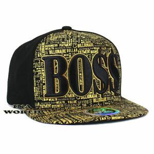 Boss Hat Embroidered Cotton Snapback Hip Hop Flat Bill Baseball Cap- Black/Gold