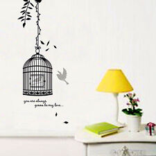 CUTIE BIRDS & BIRD'S CAGE Wall Sticker in Black, just peel & stick, removable