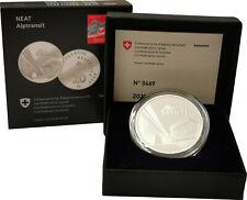 Schweiz 20 Franken Silber 2020 PP Polierte Platte NEAT - Ceneri Alptransit Etui