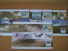 VIRGINS,100 YEARS OF FLIGHT./AIRCRAFT/AVIATION,5 DIFFERENT,FDC COVERS,EXCELLENT.