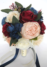 17 piece Wedding Bouquet package Bridal Silk Flowers PEACH BLUSH BURGUNDY NAVY