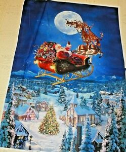 Santa In His Sleigh To All A Good Night Quilt Panel Christmas 45 x 31 inches