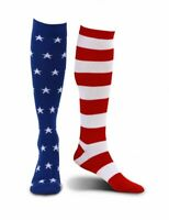 American Flag Knee-High Socks Mismatched 4th of July Patriotic Americana NEW